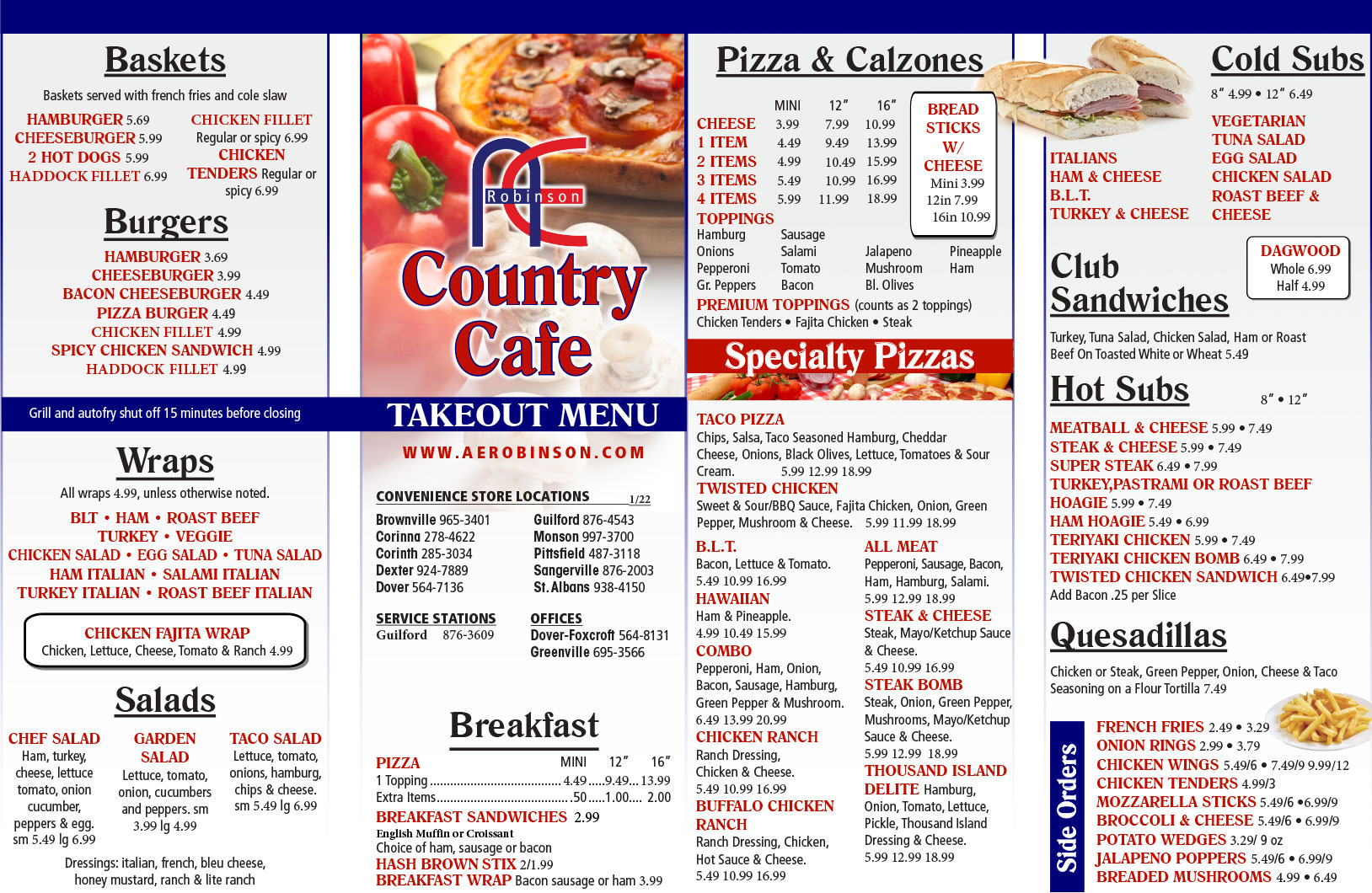 Country Cafe Menu, Click Here To View
